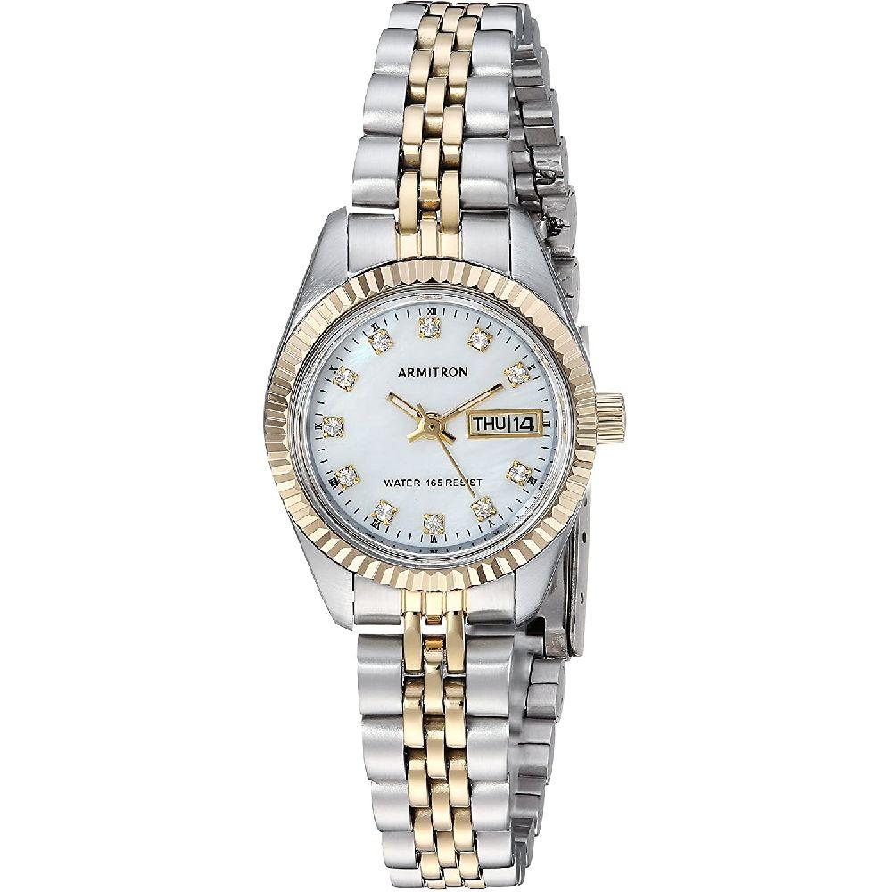Armitron 여성 75 2475MOP 스와로브스키 크리스탈 악센트 두 톤 팔찌 시계