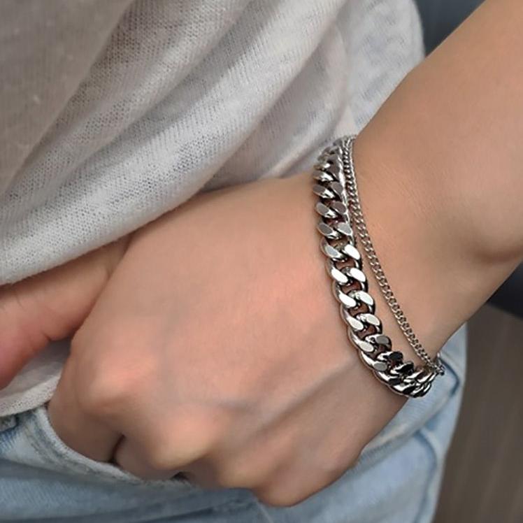 주하트 써지컬스틸 변색없는 남자 여자 두줄 기본 레이어드 체인 팔찌