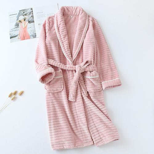 비텐 프리미엄극세사 샤워가운 나이트가운 목욕가운 커플잠옷, 1개, 스트라이프 - 핑크L(여성용)
