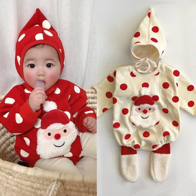 쁘띠드엔 JY)산타인형 나염슈트 크리스마스아기옷