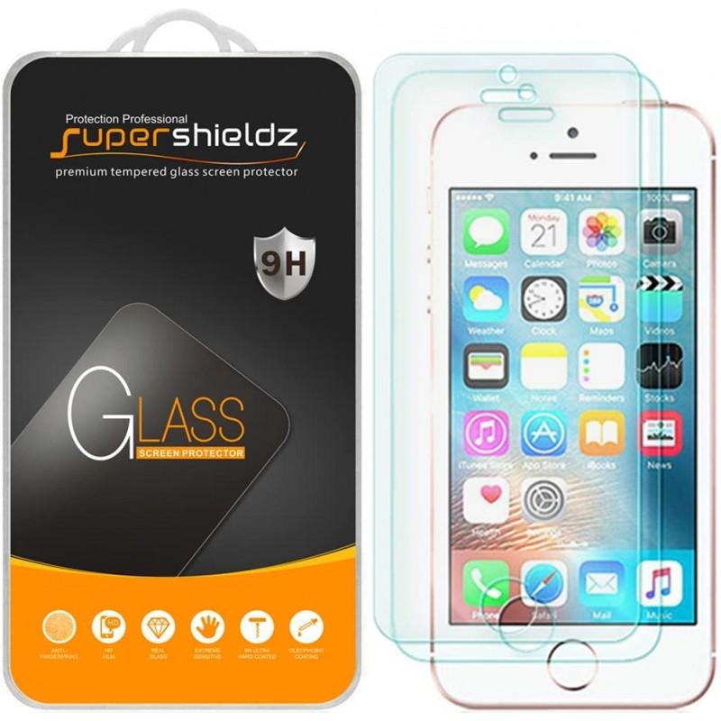 iPhone SE (1 세대 2016 년판) iPhone 5 iPhone 5S iPhone 5C 강화 유리 화면 보호기 긁힘 방지용 Supershieldz (2 팩), 1
