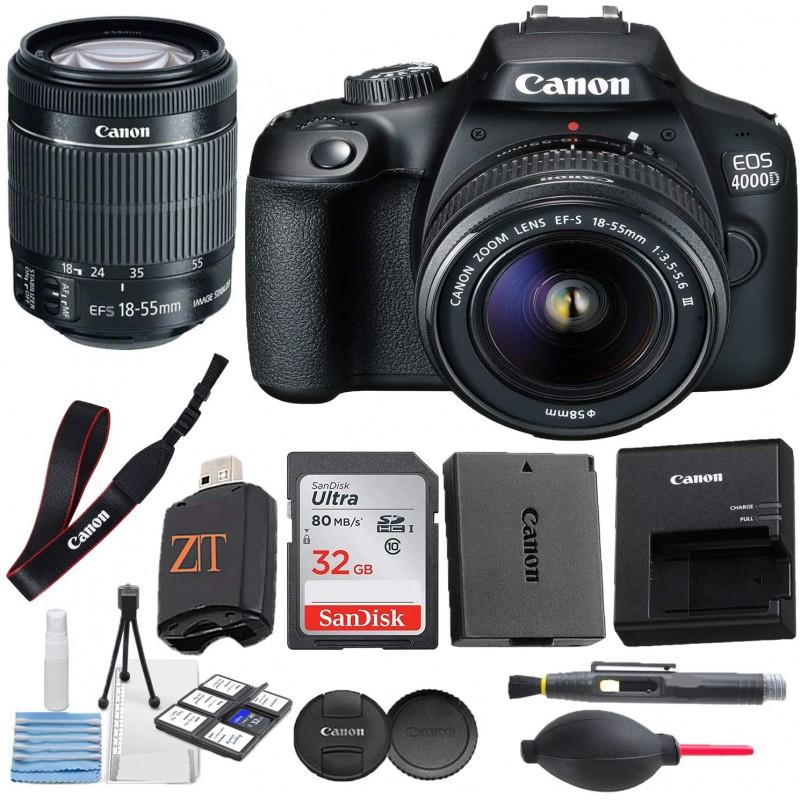 Canon EOS 4000D / Rebel T100 DSLR 카메라 18-55MM DC III 줌 렌즈 (액세서리 번들 포함) + SanDisk 32GB 메모리 카드 + 고, 단일옵션