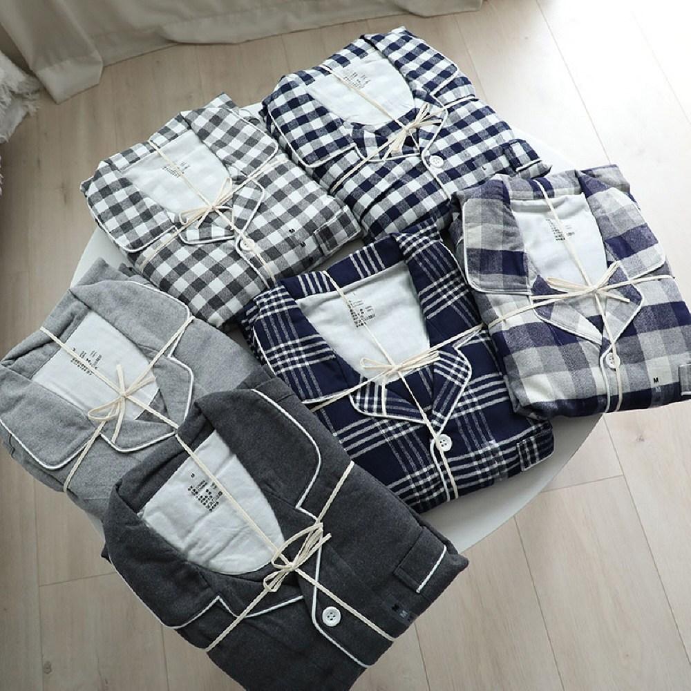 무인양품잠옷 플란넬잠옷 체크 커플파자마