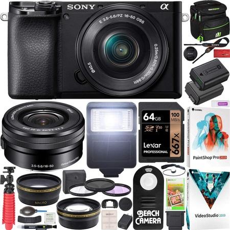 해외Sony 소니 a6100 미러리스 카메라 4K APS-C ILCE-6100LB 16-50mm F3.5-5.6 OSS 렌즈 키트 및 데코 기, 상세 설명 참조0