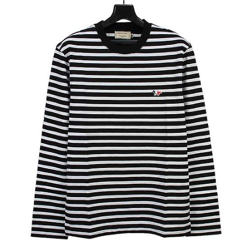 MAISON KITSUNE 메종키츠네 남녀공용 스트라이프 티셔츠 FU00115KJ0044 BLACK/WHITE [MAC077bk]