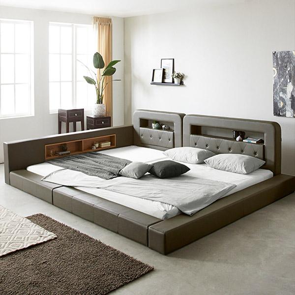 세진침대 PE폼깔판 증정 코코 LED 저상형 패밀리 침대+파워본넬 매트리스 세트, 모카그레이