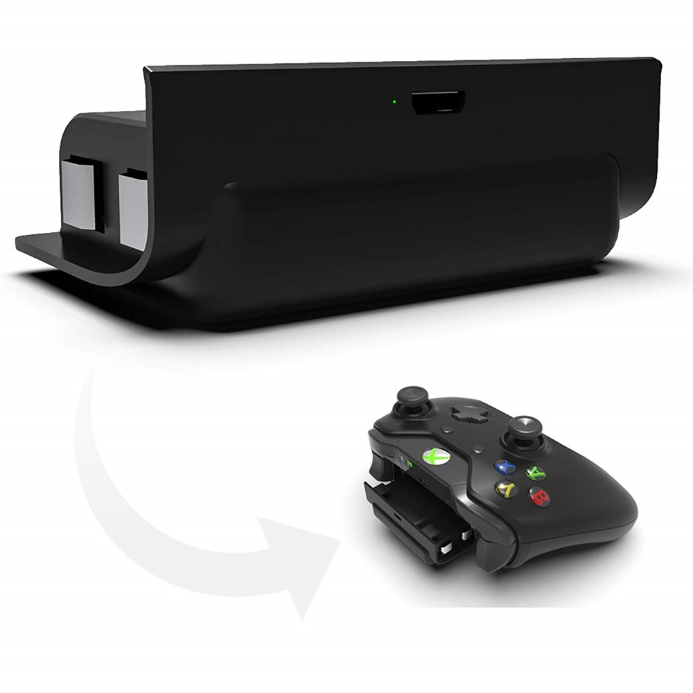 by Gamers Digital Xbox One 컨트롤러 용 3ft USB 충전 케이블이 장착 된 충전식 1200mAh 스냅인 배터리 팩 검은 색, 1개, 단일상품