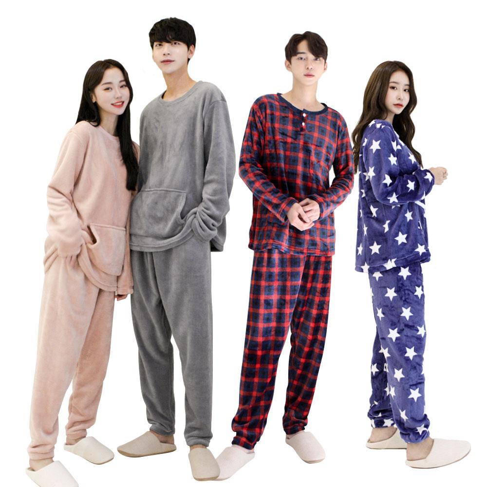 [2N] 밍크 융털 오버핏 수면잠옷세트 남여 커플 세트_DS00323003