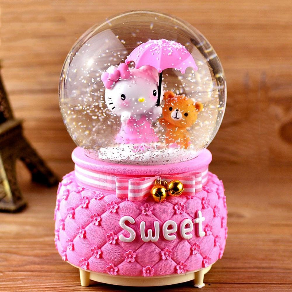 kirahosi 스노우볼 인테리어 장식 크리스마스스노우볼 차량 침실 꾸미기 생일 선물 59 노을 +덧신 증정 BF1i4v91, 핑크 2#-12cm