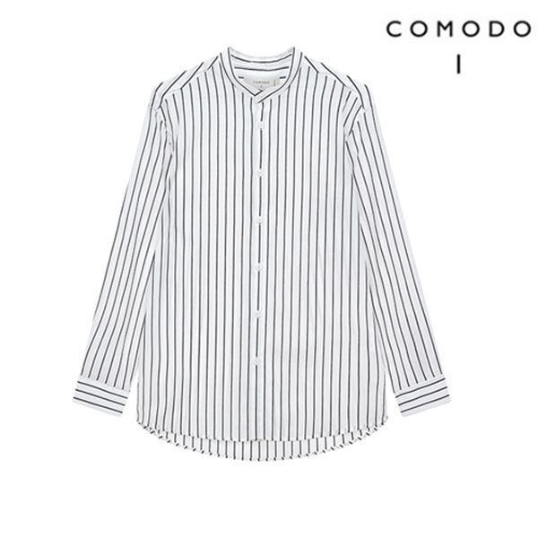 COMODO 코모도 화이트 모던 차이나 카라 셔츠