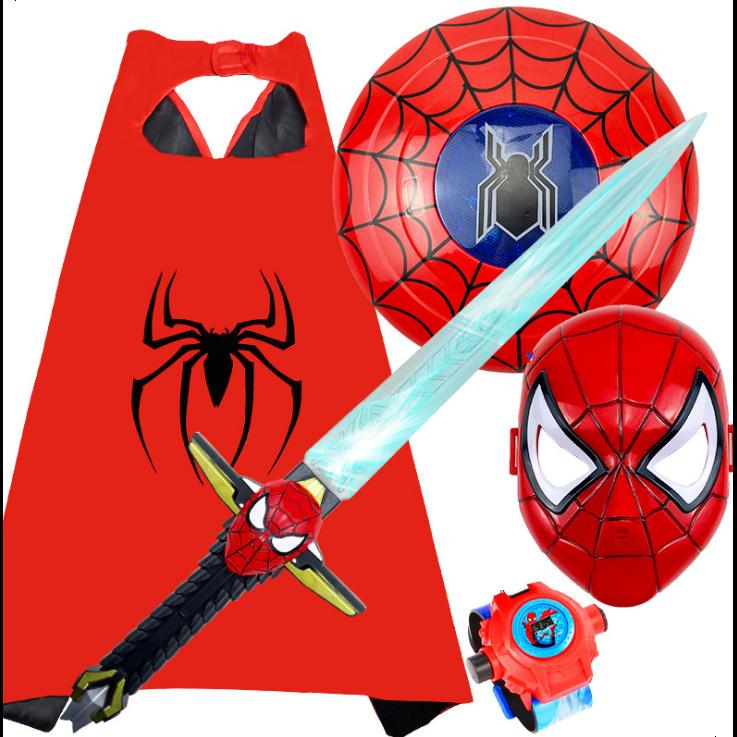 AM ANNA 5종 스파이더맨 캡틴 아메리카 LED 보검 장난감 코스프레 코스튬 할로윈 파티 풀세트 선물
