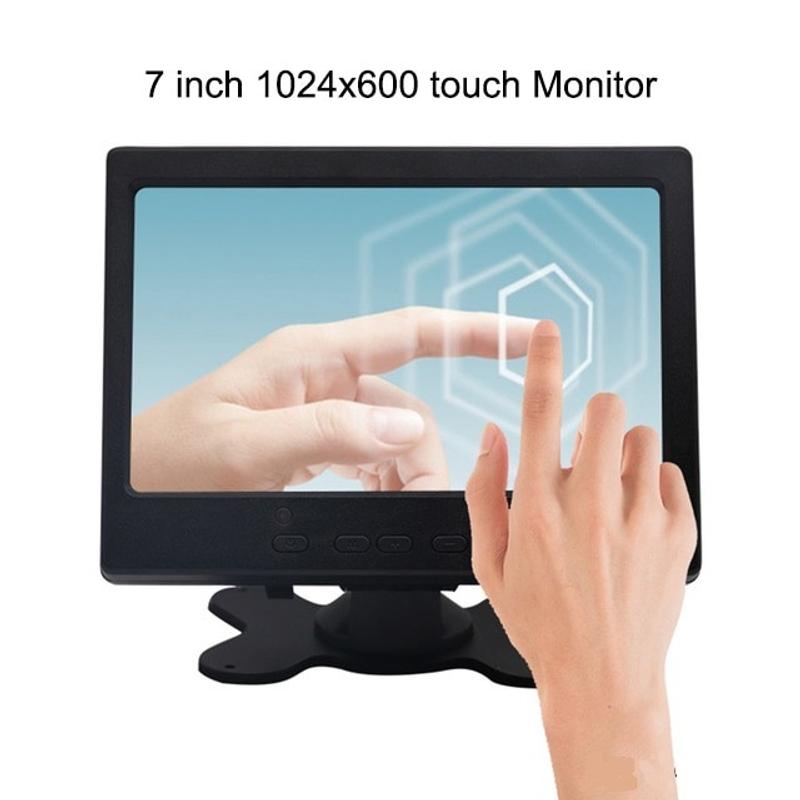 7 인치 HDMI 터치 모니터 PC 미니 소형 LCD CCTV 풀 HD 휴대용 모니터 TFT 1024 600 내장 스피커 자동차 역방향 후방, 1024x600 터치 (POP 5709350882)
