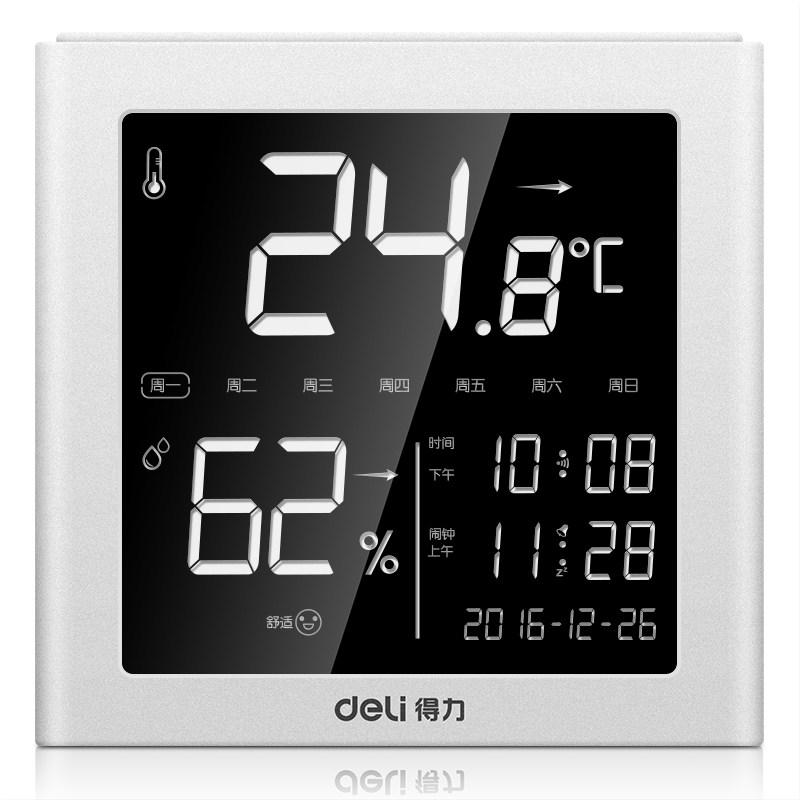 온도계 전자 건습 고정밀도 가정용 실내실외 방온도 습도계 알람시계 사무실, T04-8958온도계(백라이트부착 기능 , 디스플레이 시간 날짜 , 조절가능 알람시계 ,, 기본