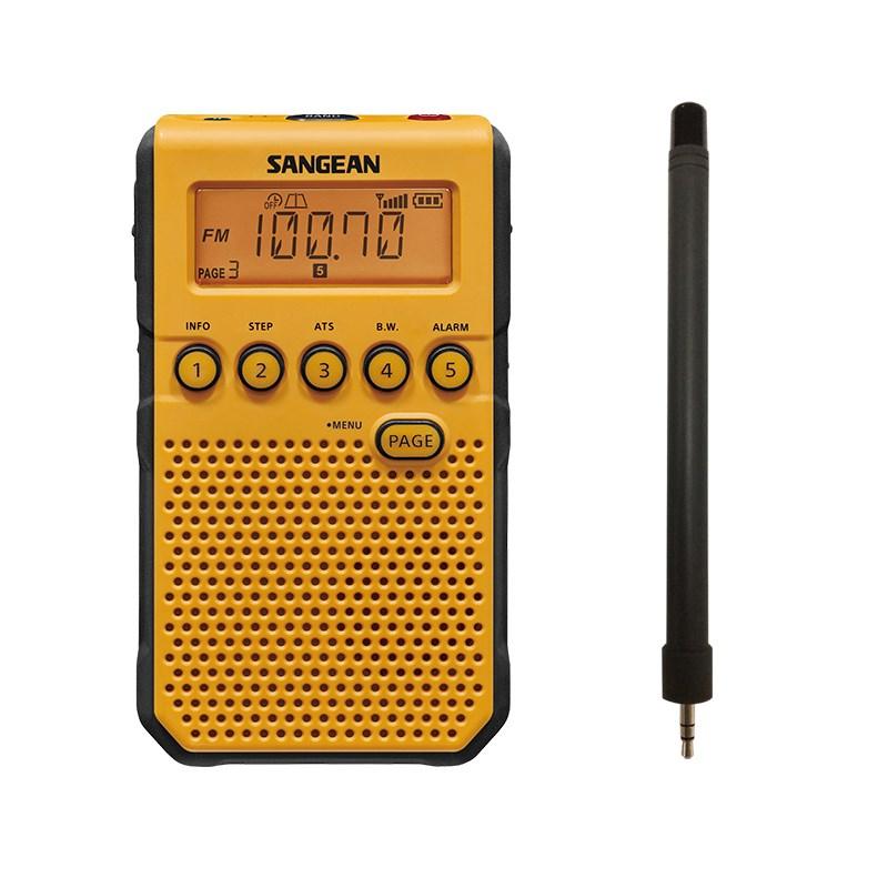 라디오 SANGEAN/DT-800C DT-800C 알람시계 반도체 신호 휴대용, T04-노란색+ 안테나 보내기 전기건전지