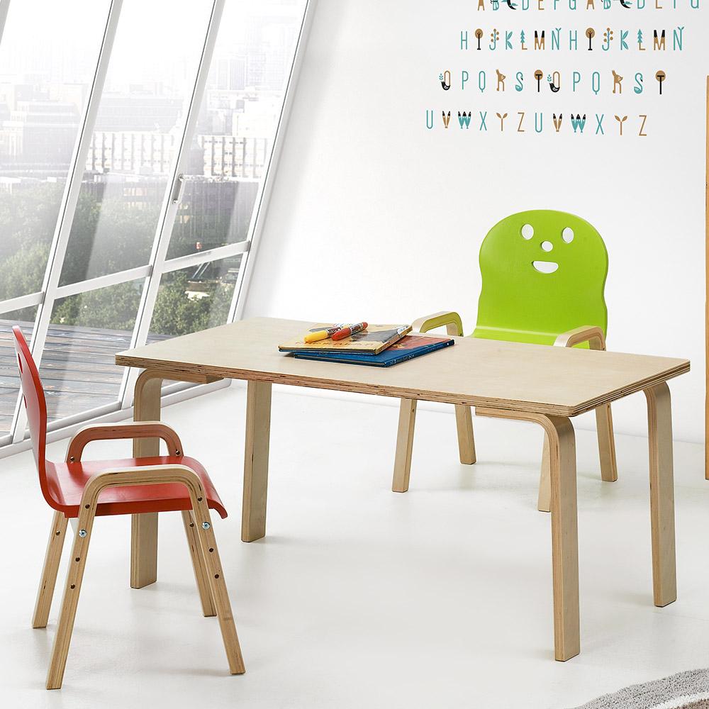 토리 원목 유아 신형의자 직사각 책상세트 2-7세, 유아 직사각 분홍 책상 / 신형의자 빨강+연두