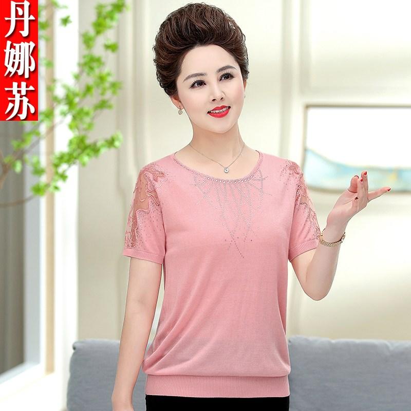라우렌 0중년 엄마 여름옷 반팔 실얼음 티셔츠 숏 얇은 여성의류