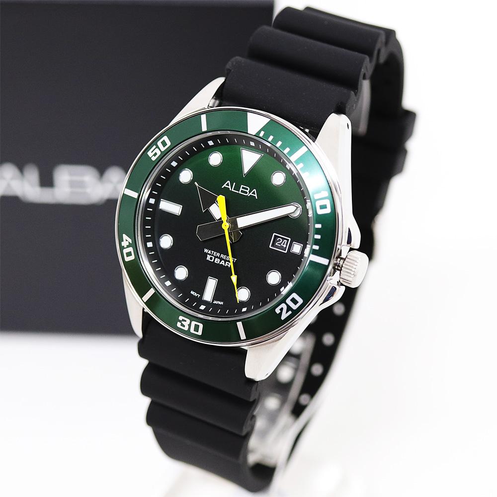 알바 AG8K23X 다이버 스타일 우레탄 밴드 남자 그린 시계 백화점 AS 가능
