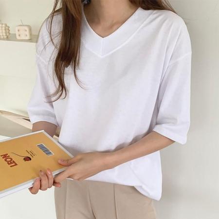 수맘 여성용 베이스 브이넥 반팔 티셔츠