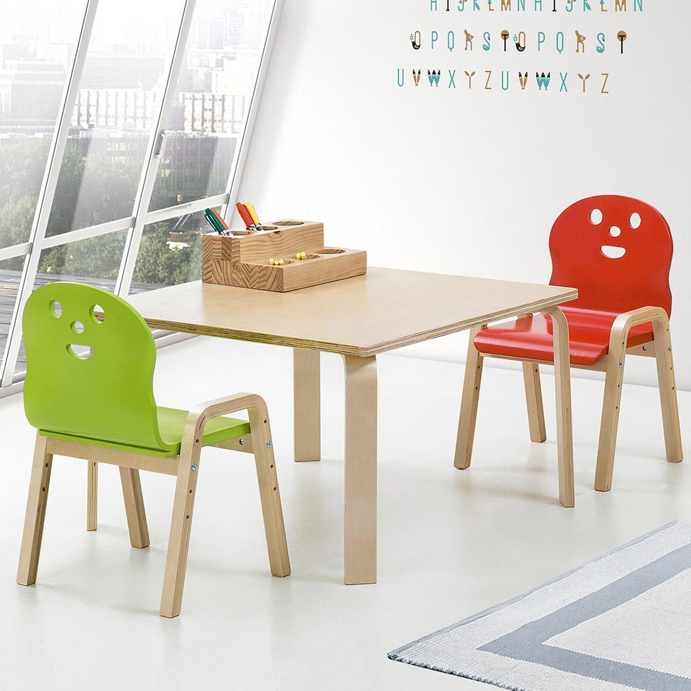 토리 원목 유아 신형의자 정사각 책상세트 2-7세, 유아 정사각 내추럴 책상 / 신형의자 내추럴 2개