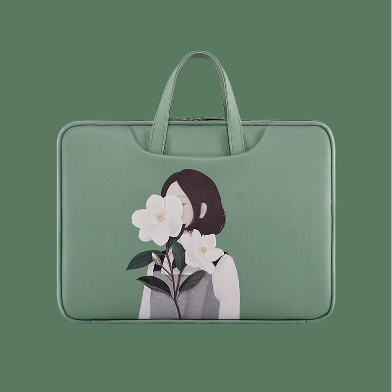 기쁨가게 lg그램 15인치파우치 귀여운 노트북가방 소녀 방수 맥북 삼성 케이스 13 14 15.6인치, 그린