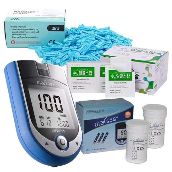 그랜드메디 미래3.3G+혈당측정기 세트(혈당계+시험지+바늘+솜) 혈당측정기 세트, 1개, 미래3.3G+세트