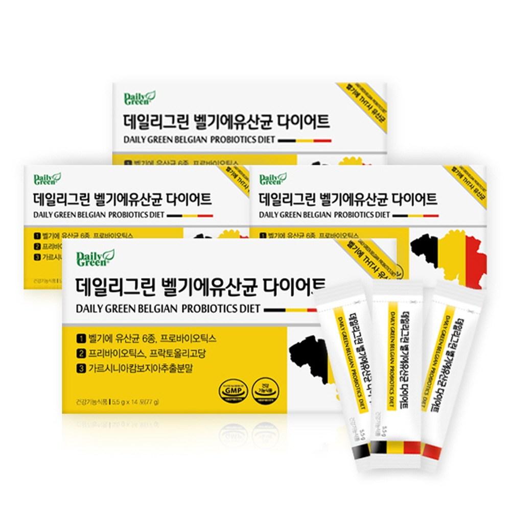 데일리그린 벨기에유산균다이어트 멀티바이오틱스 모유유산균다이어트 프롤린가루 김치유산균 엘지지유산균 락토바실러스류 가르시니아 살빠지는 식물성다이어트HCA + 장건강365 슈퍼바이오틱스, 14포, 5.5g