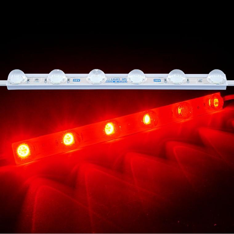 국산24V용 렌즈형 5050 3칩 LED바 6구모듈 레드LED - (1개가격) 추천 파는곳, 상세페이지 참조