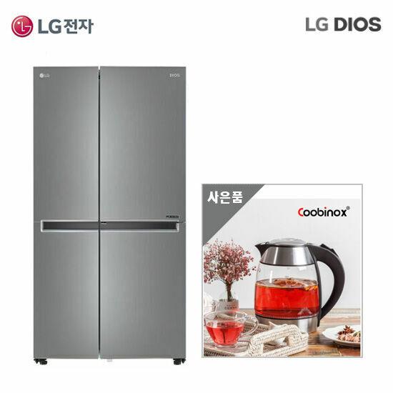 LG DIOS 냉장고 양문형 S833S32 실버+딤플 티포트, 단품