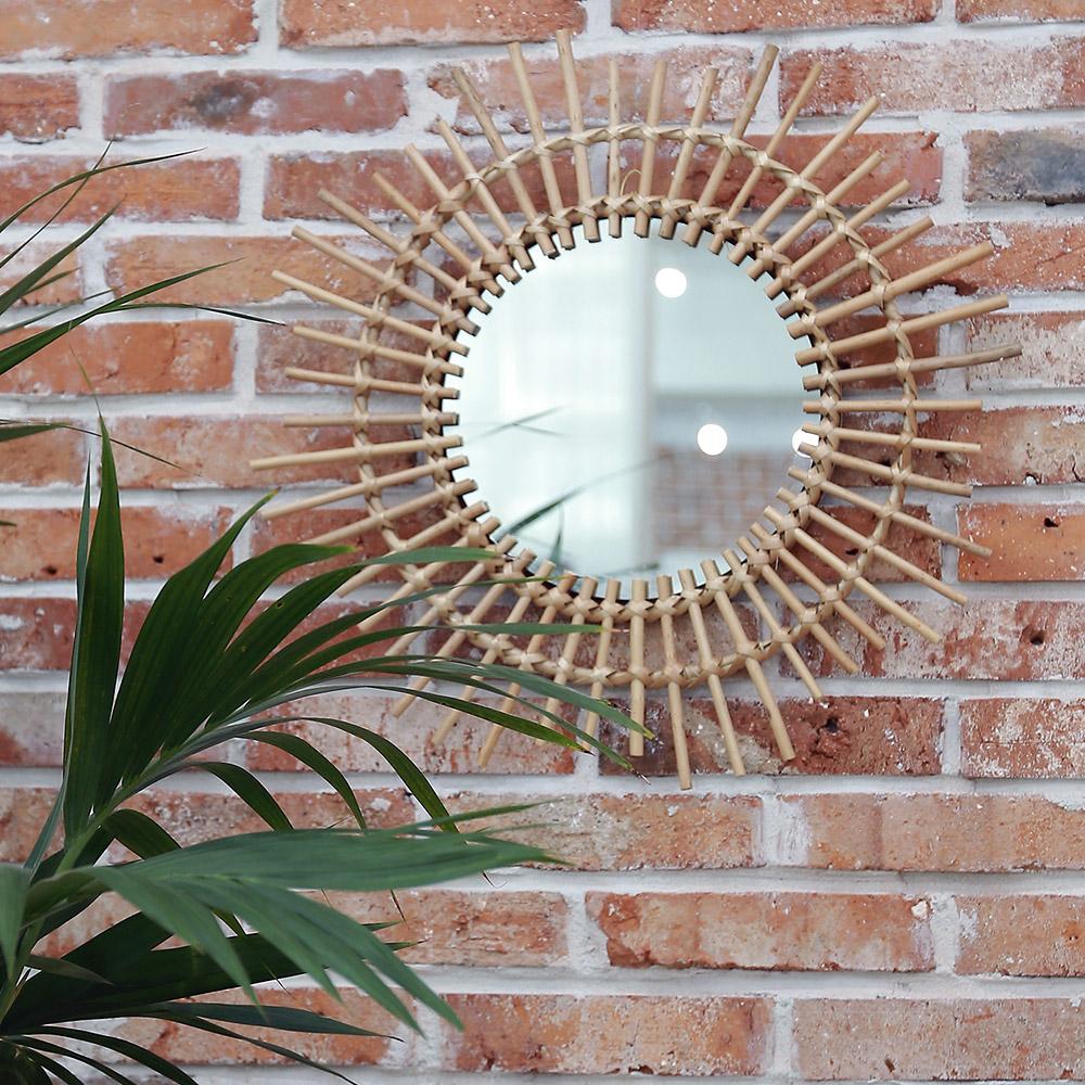 라탄 벽거울 원형거울 인테리어 벽걸이거울, 라탄원형거울