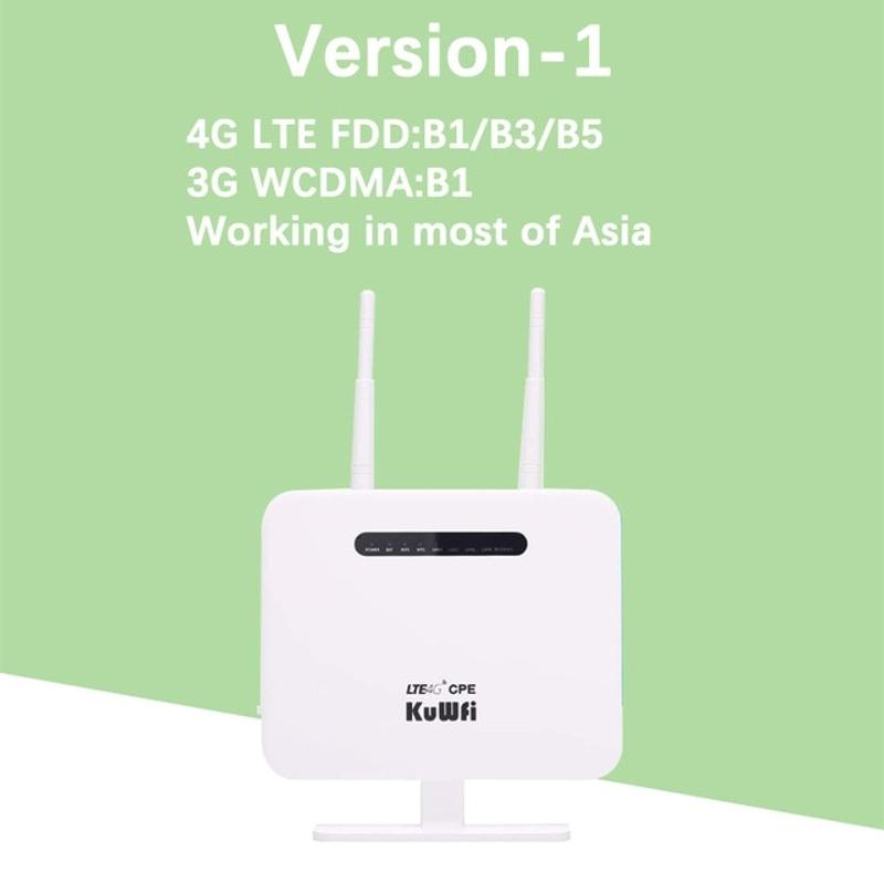 KuWFi 4G 라우터 Sim 카드 300mbps 잠금 해제 4G CPE 무선 라우터 150mbps CAT4 모바일 와이파이 핫스팟 Sim 카드 슬롯 4 LAN 포트, 협력사, 화이트 -1