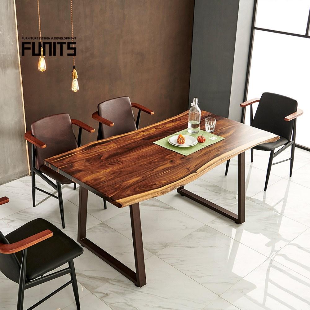 퍼니츠 에피크 장미목 우드슬랩 식탁, 2000상판+트라페즈다리