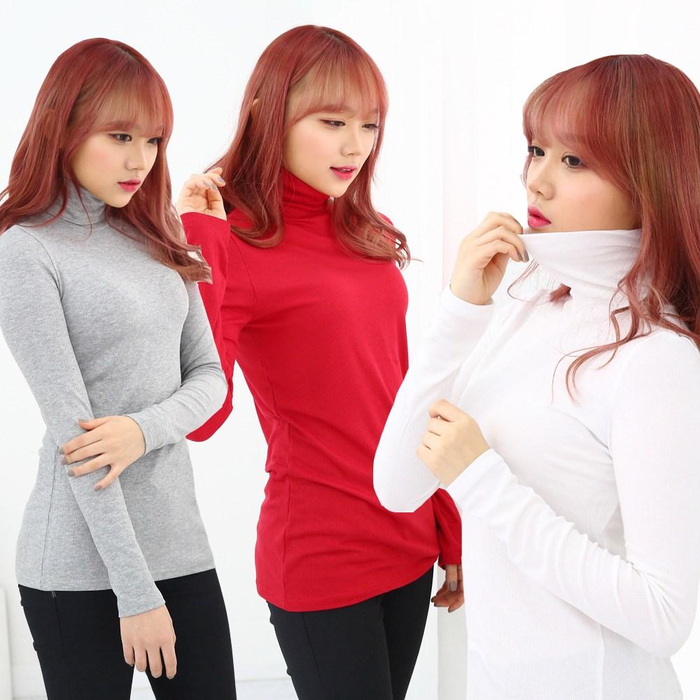 스타일대박 여성 스판 골지 목폴라티 긴팔 티셔츠