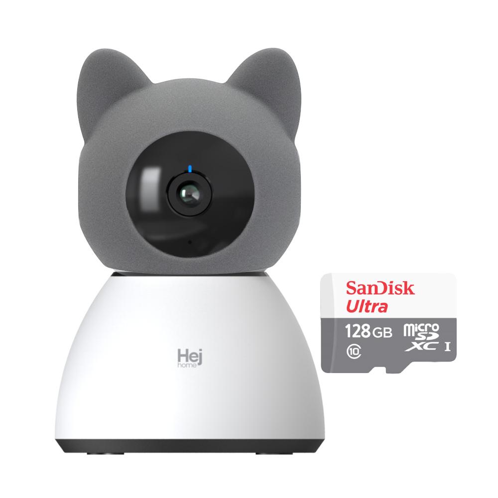 헤이홈 헤이캣 스마트 홈카메라 PRO+ 캐릭터 케이스, 헤이캣 커버 + 128GB SD카드 + 홈카메라PRO+