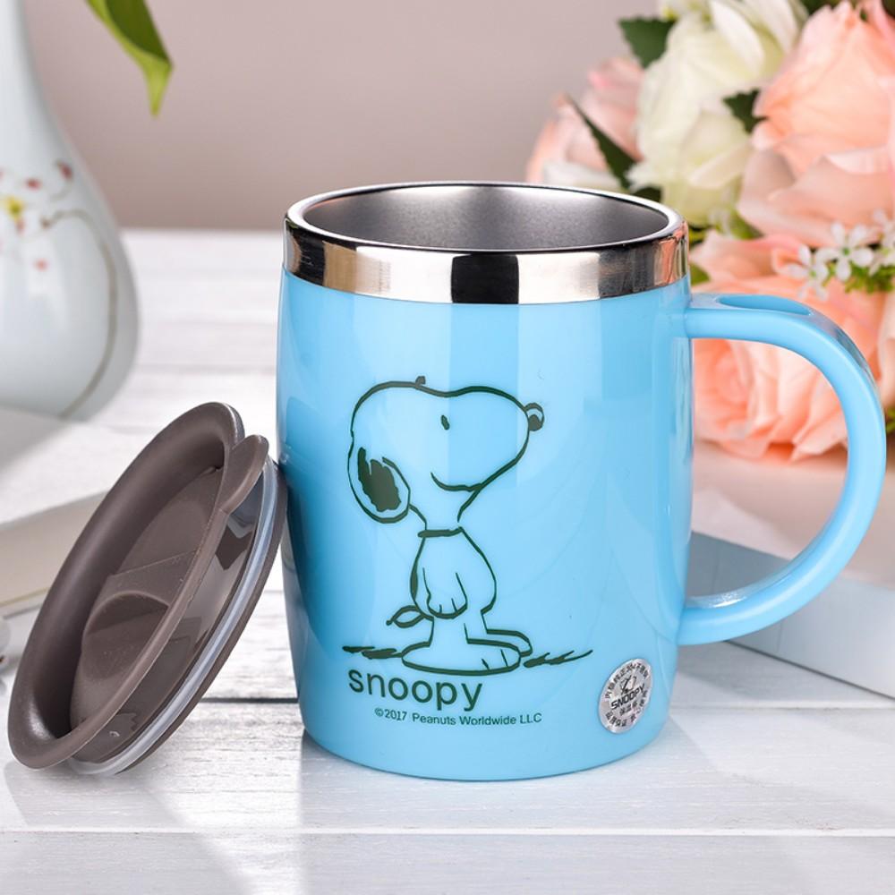 스누피 보온보냉 스댕 머그컵 캠핑 가서 쓰기좋은 안깨지는컵 스누피머그컵, 푸른