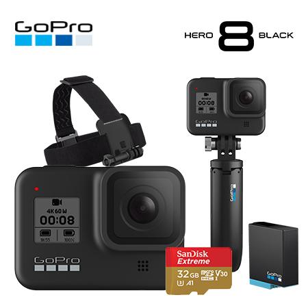 고프로 [GoPro] HERO 8 Black 히어로 블랙 스페셜 번들팩 (쇼티+헤드스트랩+추가배터리(총2개)+SD카드(4K용))[박스훼손상품] 액션캠, 단품