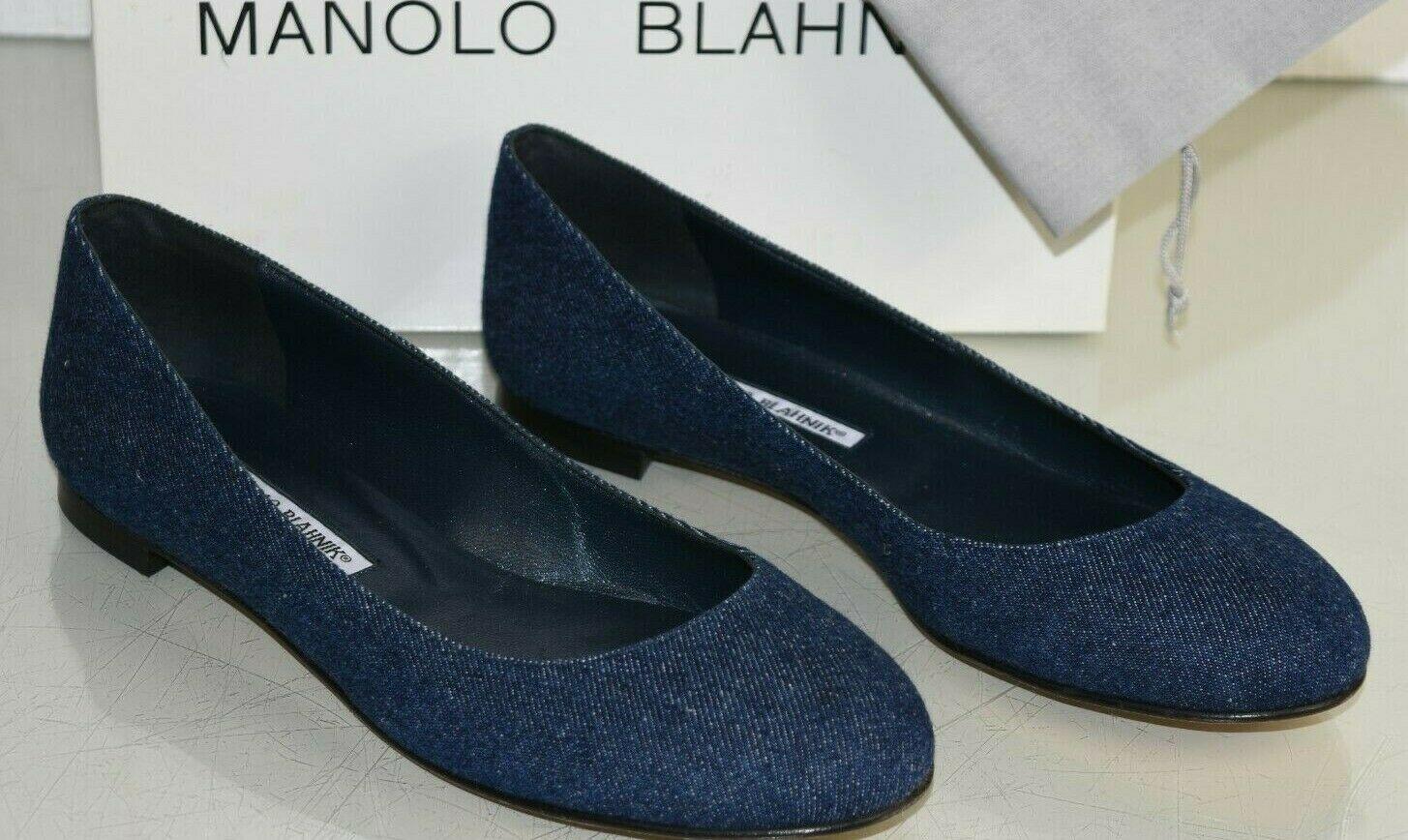 NEW Manolo Blahnik TERE Jeans Flats Blue DENIM Navy Round Toe Shoes 38.5 40.5 41
