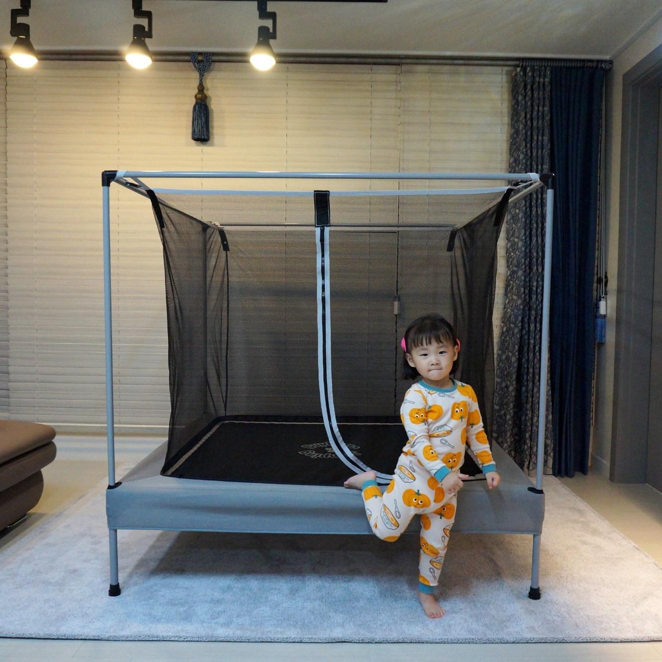 점핑앤점핑 유아 아기 어린이 트램폴린 점핑 방방이 콩콩이 트램블린 트램펄린, 그레이