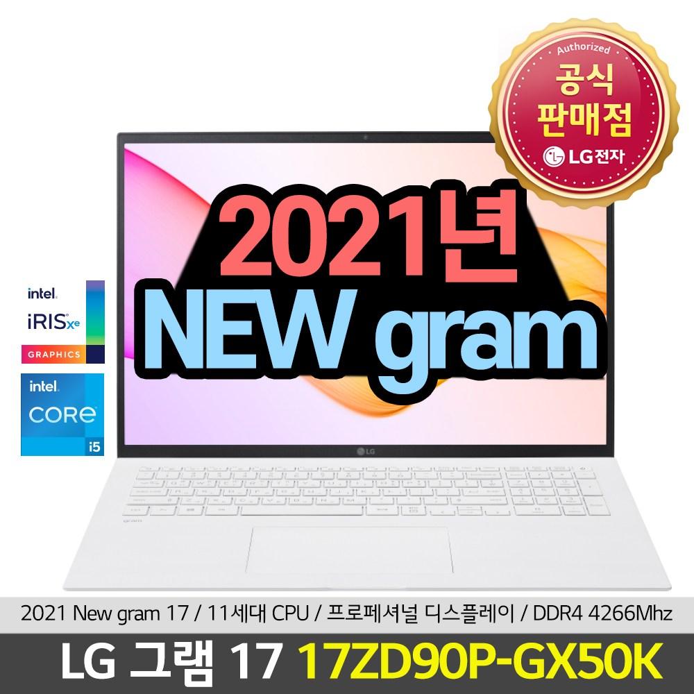 LG전자 그램17 17ZD90P-GX50K 21년 17인치 그램 신모델 2세대 인강용 대학생용 추천 노트북, 8GB, NVMe 256GB, 미포함
