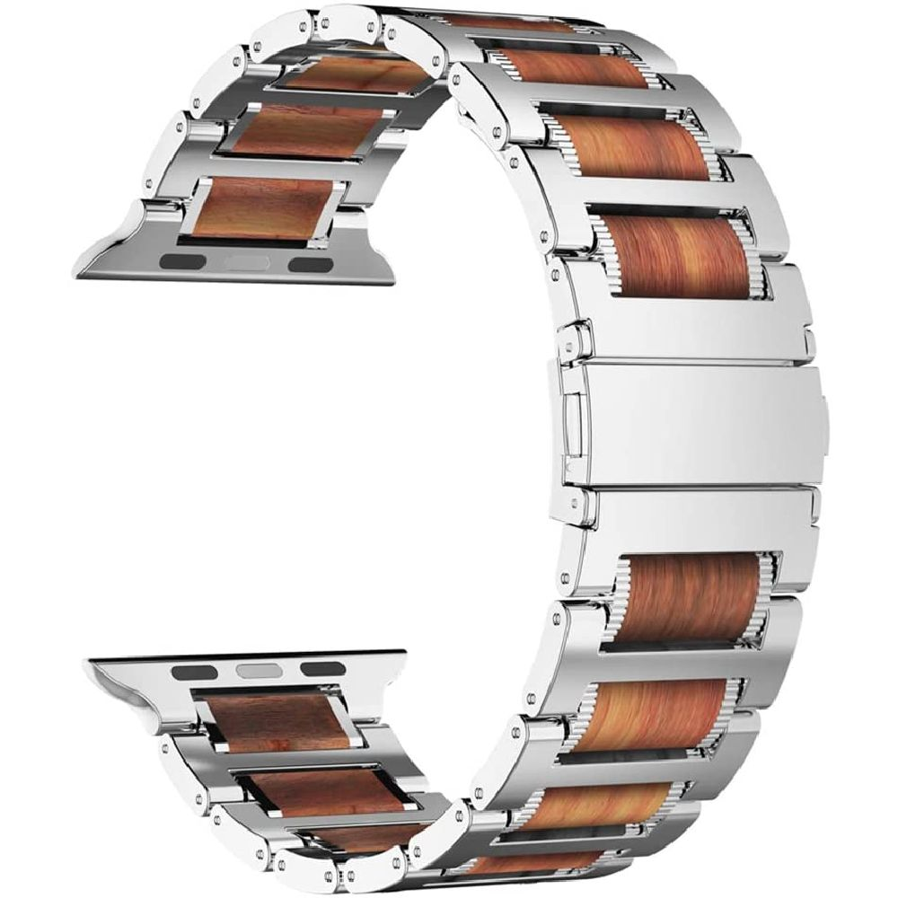 iiteeology 애플 iWatch 시리즈 5 4 3 2 1 실버 애플 시계 밴드 44mm 42mm 천연 나무 자단 스