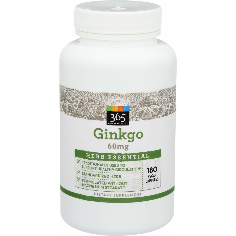 365 Everyday Value Herb Ginkgo circulation 365에브리데이벨류 징코 은행나무 추출물 60mg 순환계 180정 1팩, 1개, 180