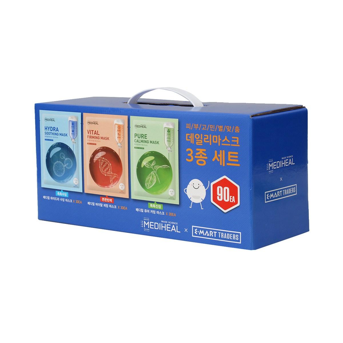 메디힐 데일리 마스크 30매x3입 무료배송 하이드라 수딩 바이탈 퍼밍 퓨어 카밍 데일리마스크, 90매, 1set