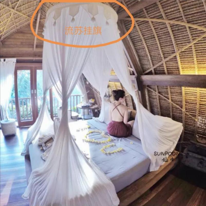 방텐트 방꾸미기 침실 신혼부부 레트로 장식 커튼 더블 침대 방풍 실내 천장 텐트, 2. 색상 분류: 술이 달린 깃발-소량의 주식, 적용 가능한 침대 크기: 12m 4 피트 침대