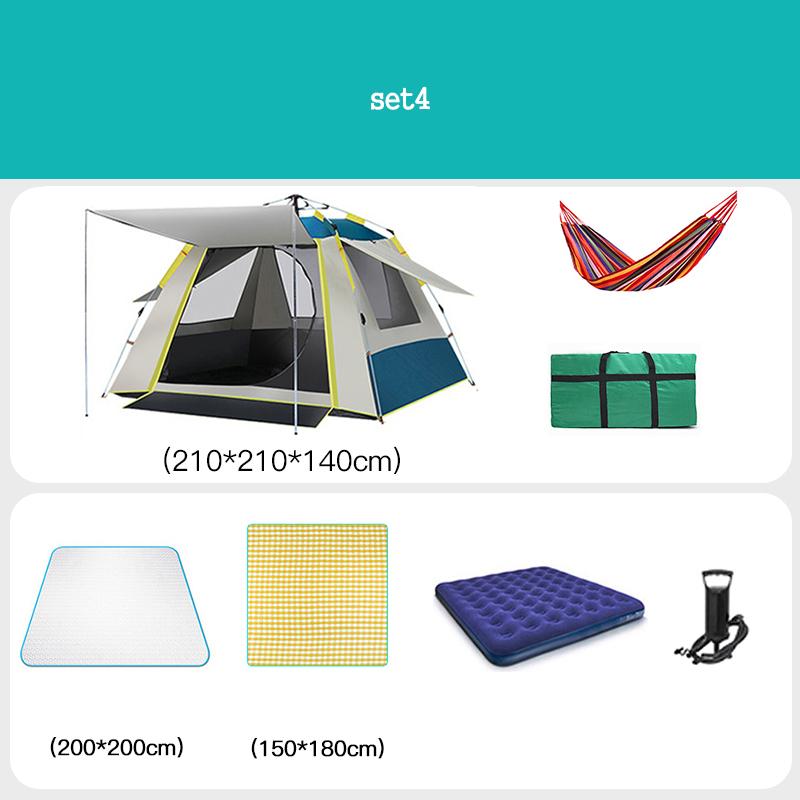[유쉬터] 자동텐트 원터치텐트3-4인용자외선 차단 낚시용 공원용 방수텐트 세트, SET4