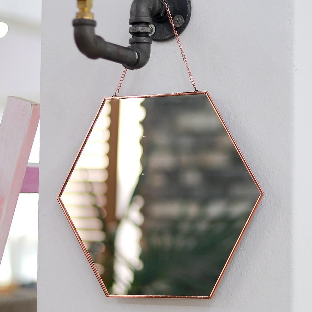 북유럽 코퍼거울 로즈골드거울 육각 거울 (로즈골드/블랙), 로즈골드_거울