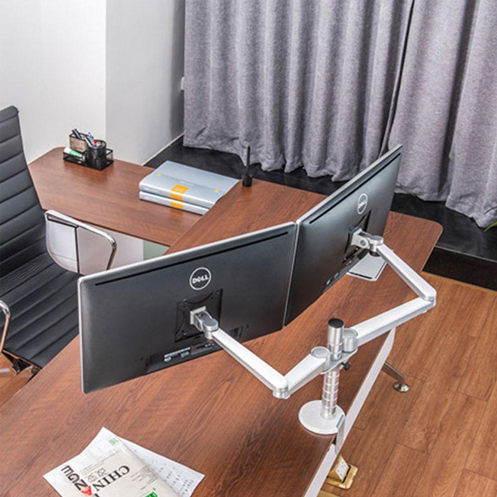 HY 펀타스틱 하드 모니터암 거치대 듀얼 사무실 스탠드 컴퓨터용품, 고급형 실버