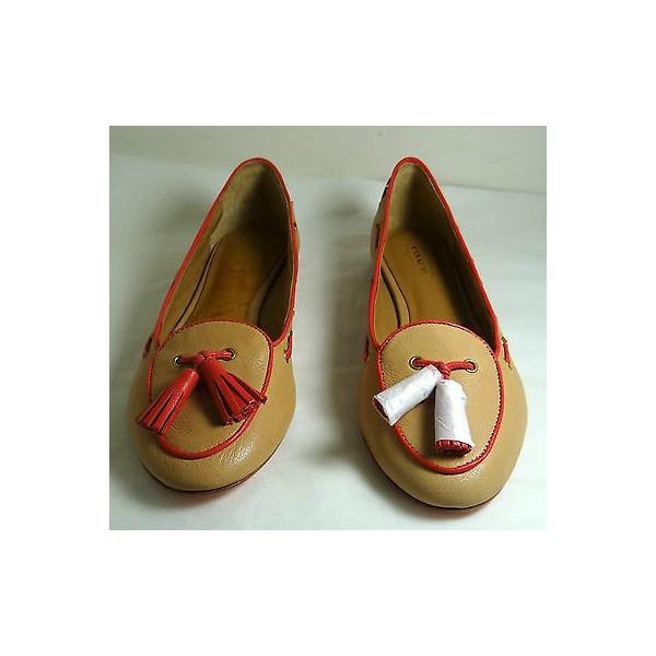 111998 코치 Manika Soft Tan 가죽 Flat Shoes 5-11