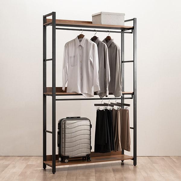 [삼익가구]네시스 시스템 옷장 드레스룸 1200 와이드 2단 행거형, 브라운
