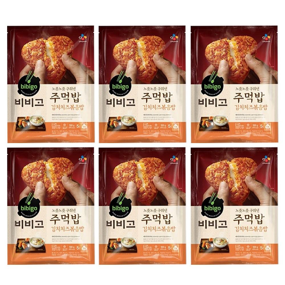 (냉동)비비고 구워낸주먹밥김치치즈500gx6개, 1세트