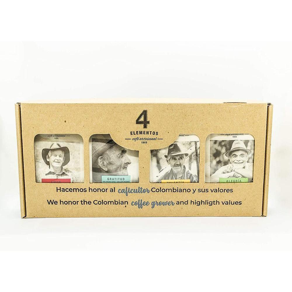 직구 4 Elementos Sampler Gift Box Alegria Amor Gratitud and Valentia Roasted Coffee Beans 4.4oz Each B, 수량, 상세참조