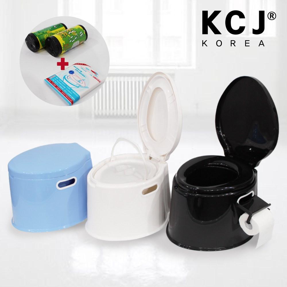 KCJ 이동식 좌변기 양변기 간이 화장실 휴대용 캠핑 환자용 소변기, KCJ 휴대용 멀티좌변기-블랙+사은품(커버,봉투,받침대,휴지걸이)
